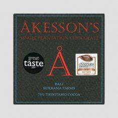 Chocolat Noir Akesson's - Bali Sukrama 75% de Cacao