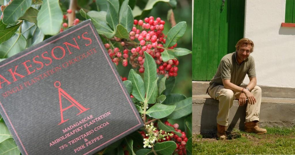 Bertil Akesson et la tablette de chocolat noir 75% de cacao aux baies roses.