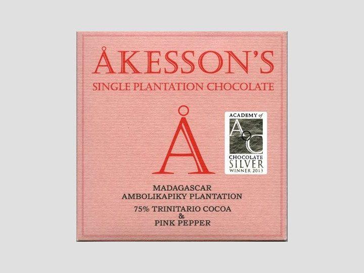 Chocolat noir Akesson's – Baies Roses 75% de Cacao